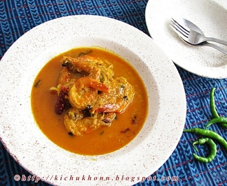 Chingri macher Malaikari / Prawns cooked in coconut milk