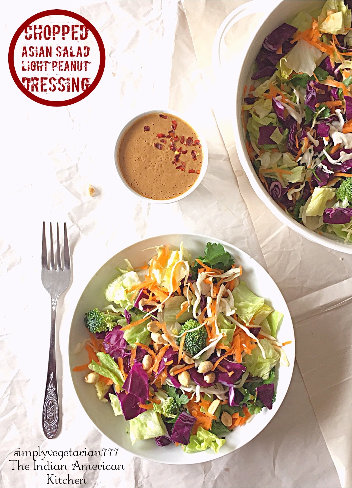 Chopped Asian Salad with Light Peanut Dressing