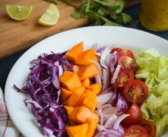 Mango salad with mango-mint dressing