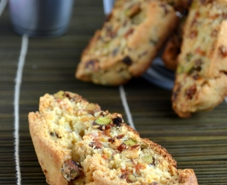 Eggless Pistachio Apricot Orange Biscotti