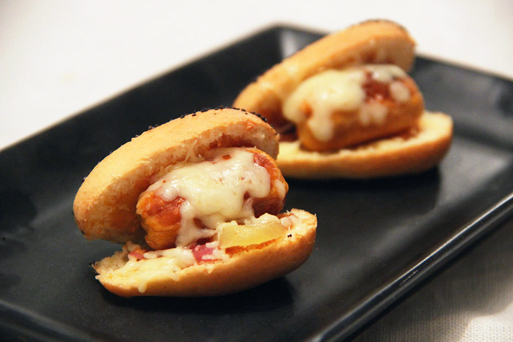 3 variantes de mini hot-dogs