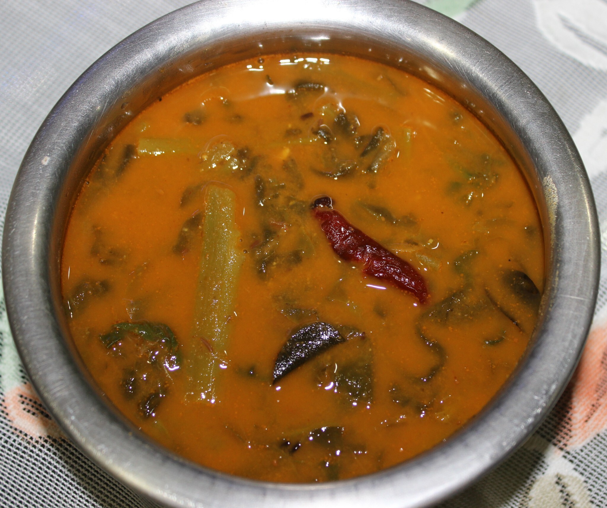 Kudu - Basale Soppu Sambar (Indian Spinach Curry) - Manglorean dish
