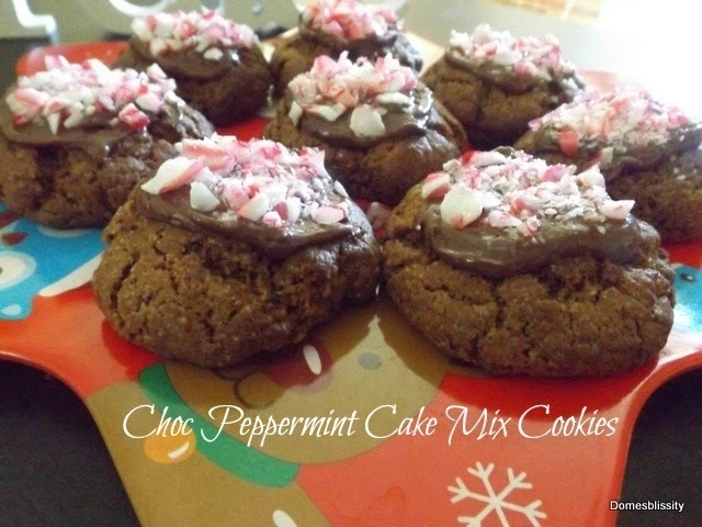 Choc Peppermint Cake Mix Cookies
