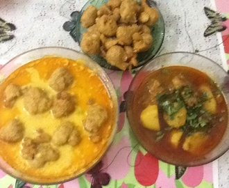 Chicken Curry with Potatoes,and Curry Pakora Dumplings