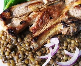 Spicy Lamb Cutlets with Braised Lentils