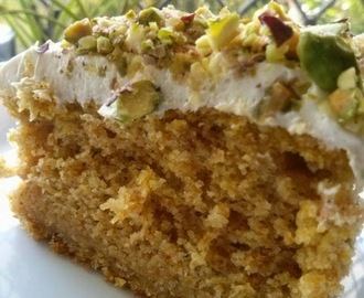 Pumpkin Cake topped with Cream Cheese Frosting & Pistachios