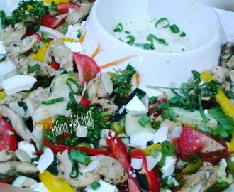 Chicken and spring onion salad