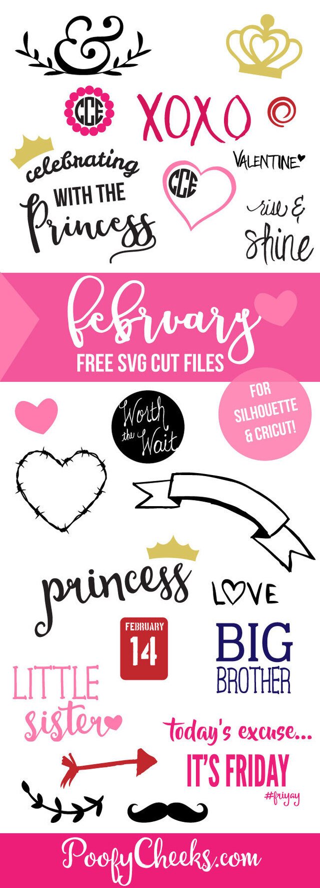 FREE Cut Files for February - SVG and DXF for Silhouette and Cameo