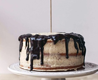 Vanilla Layer Cake with Cashew Cream and Dark Chocolate Drips