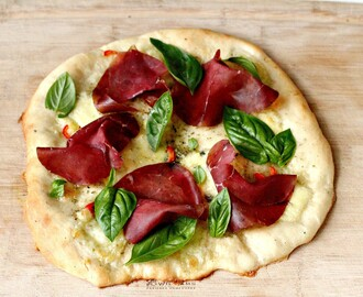 Pizza Bianca with Chillies and Bresaola