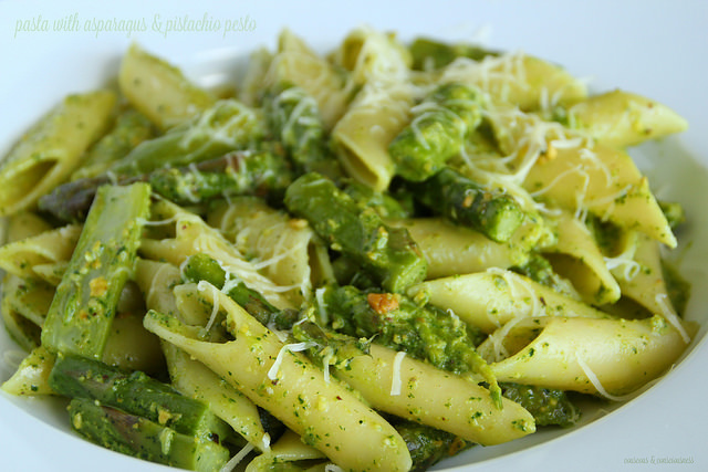 Pasta with Asparagus & Pistachio Pesto