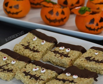 DULCES PARA HALLOWEEN: FRANKENSTEINS DE ARROZ INFLADO Y NUBE DERRETIDA ♦♦♦ HALLOWEEN TREATS: FRANKENSTEIN PUFFED RICE CEREAL-MARSHMALLOW BARS