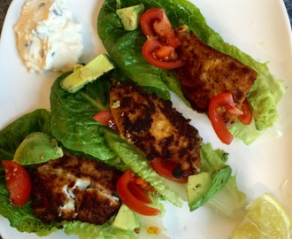 Fish Tacos with Sour Cream Dip     –  gluten free & not a grain in sight!