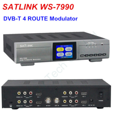 SATLINK WS-7990 Four Route HD Modulator DVB-T AV HD FULL HD 1080p Digital RF Modulator DVB-T