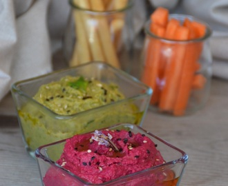 Hummus colorido de espinacas y remolacha ♢ Colourful spinach and beetroot hummus
