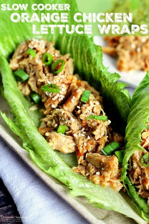 Slow Cooker Orange Chicken Lettuce Wraps