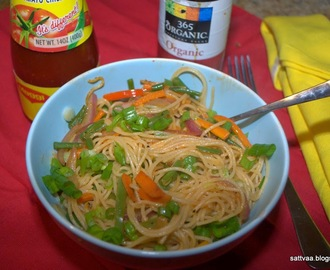 Indo Chinese - Vegetable noodles, spicy, tangy and made in a jiffy