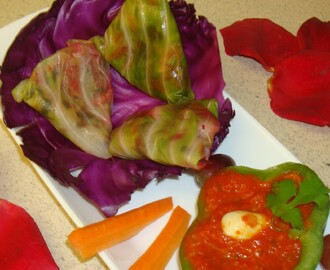 Salad stuffed Cabbage Samosas / Rolls