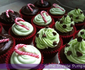 Mint Choc Chip Christmas Cupcakes [Repost]