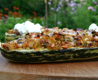 stuffed marrow with fennel, pine nuts and capricorn goats cheese served with tzatziki