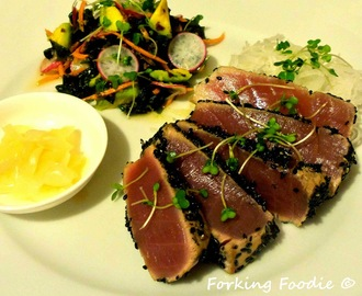 Seared Sesame Tuna with a Soy, Ginger and Lime Seaweed Salad and Daikon Noodles (includes Thermomix method)