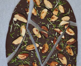 eatable christmas gifts: rosemary chocolate bark with brazilian nuts and fleur de sel