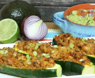 Chicken Taco Stuffed Zucchini
