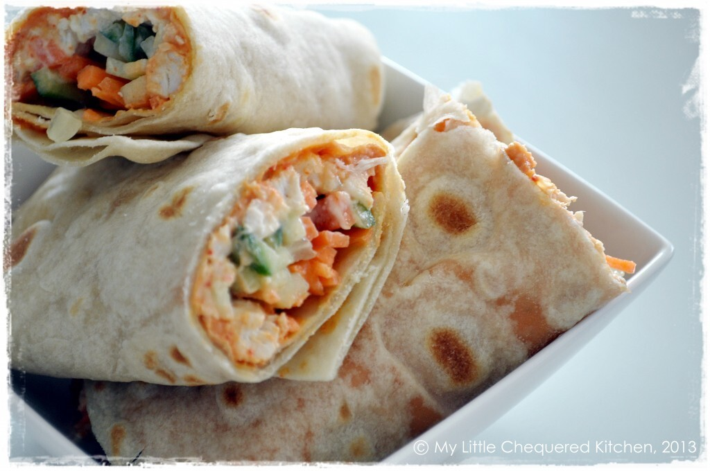 Poached Chicken & Roasted Red Pepper Hummus Wraps …