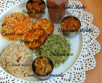 South Indian Lunch Thali with Nutella Apple Shake - A Virtual Birthday Party For Manjula