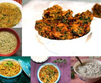 Collection of 11 fenugreek leaves/methi recipes – methi leaves recipes