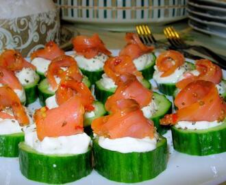 Recipes: Fabulous Festive Fish! Little Smoked Salmon Cucumber Cups With Peppered Crème Fraiche
