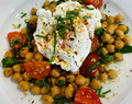 Recipe: Poached Eggs Over Chickpeas w/ Dukkah & Tomatoes