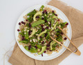Brown rice salad with broccoli, cranberry and almonds
