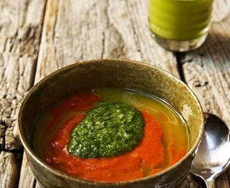 Lush Tomato Soup with Basil Pesto and Basil Oil