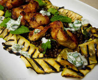 Cumin Spiced Chicken with a Puy Lentil and Chargrilled Courgette Salad served with a Mint Yoghurt Dressing