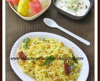 Maavinkaai Chitranna | Raw Mango Rice and Cucumber Raita