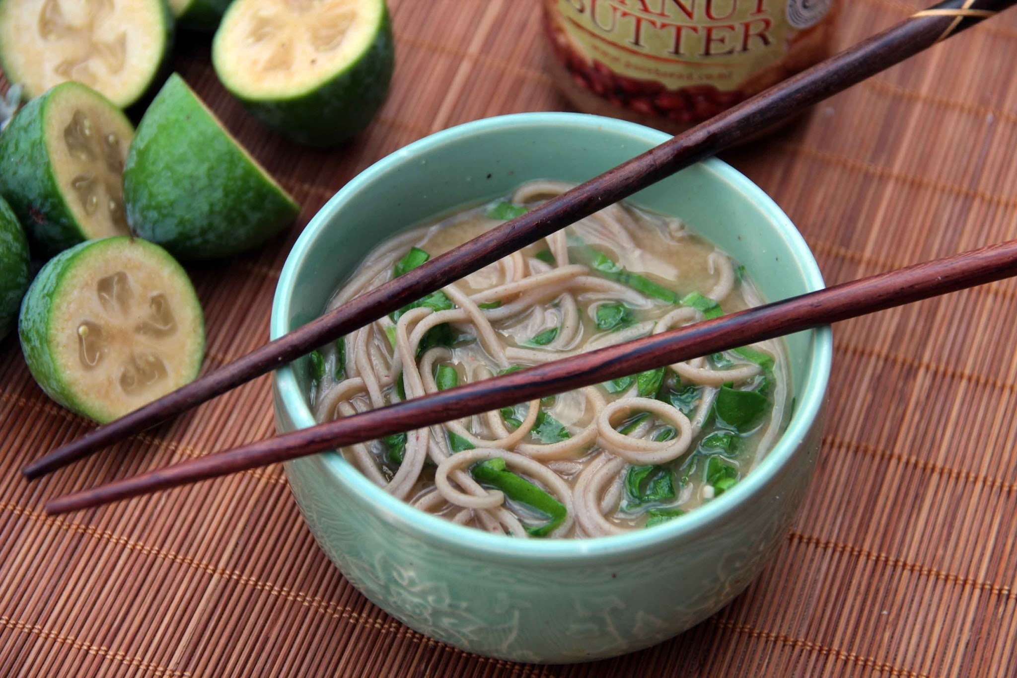 A bowl of Feijoa, Peanut Butter and Miso Noodle Soup