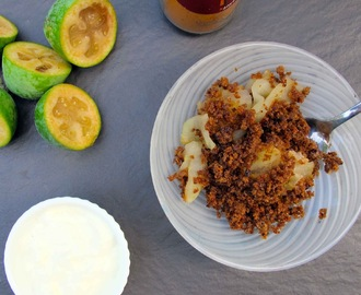 Feijoa and Apple Crisp with a  Crunchy Glutenfree Raisin Bread topping
