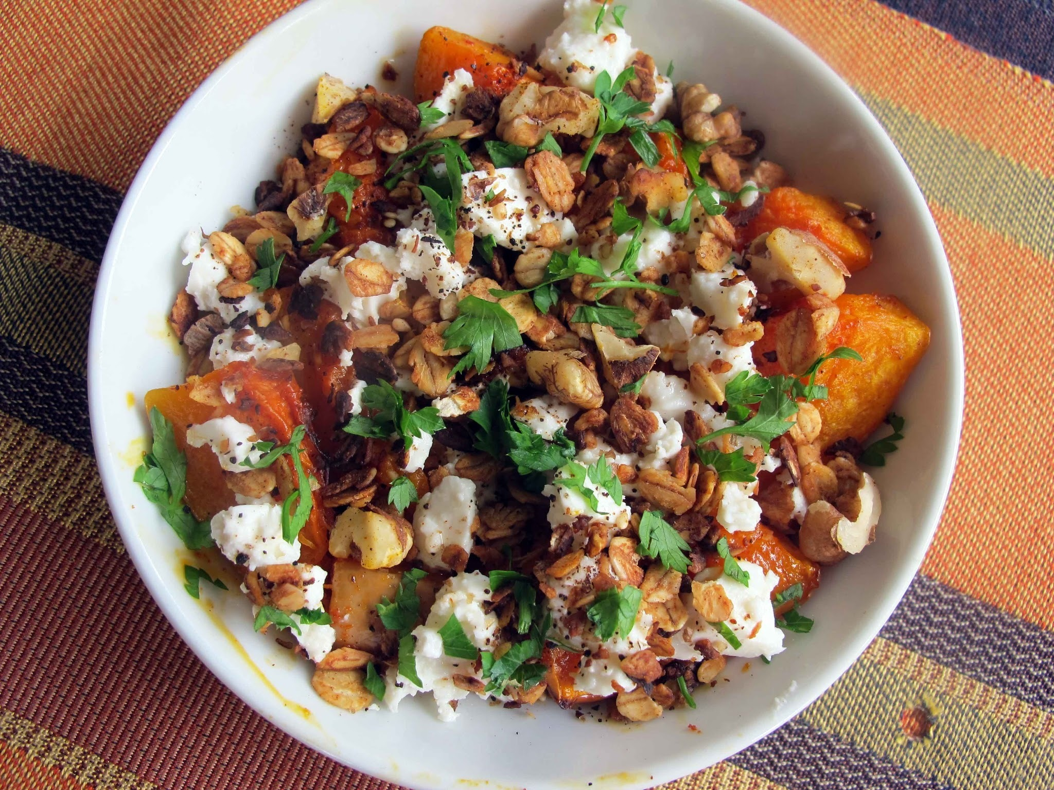 Butternut Salad with Savoury Muesli and Walnut Crumble
