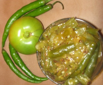 Hinga Mirsang (Hot n Sour Green Chilles n Tomatoes)