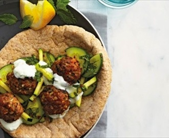 Lamb Meatballs With Minted Cucumber and Zucchini Salad