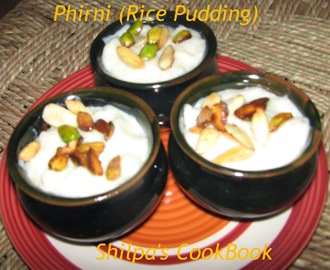 Phirni (Rice Pudding served chilled)