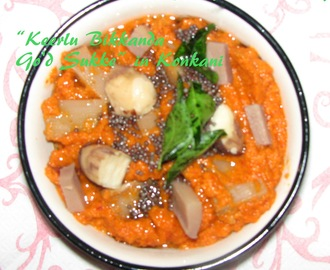 "Sweet n Spicy Bamboo Shoots n Jackfruit Seeds curry  or ""Keerlu Bikkanda Go'd Sukke"" in Konkani"
