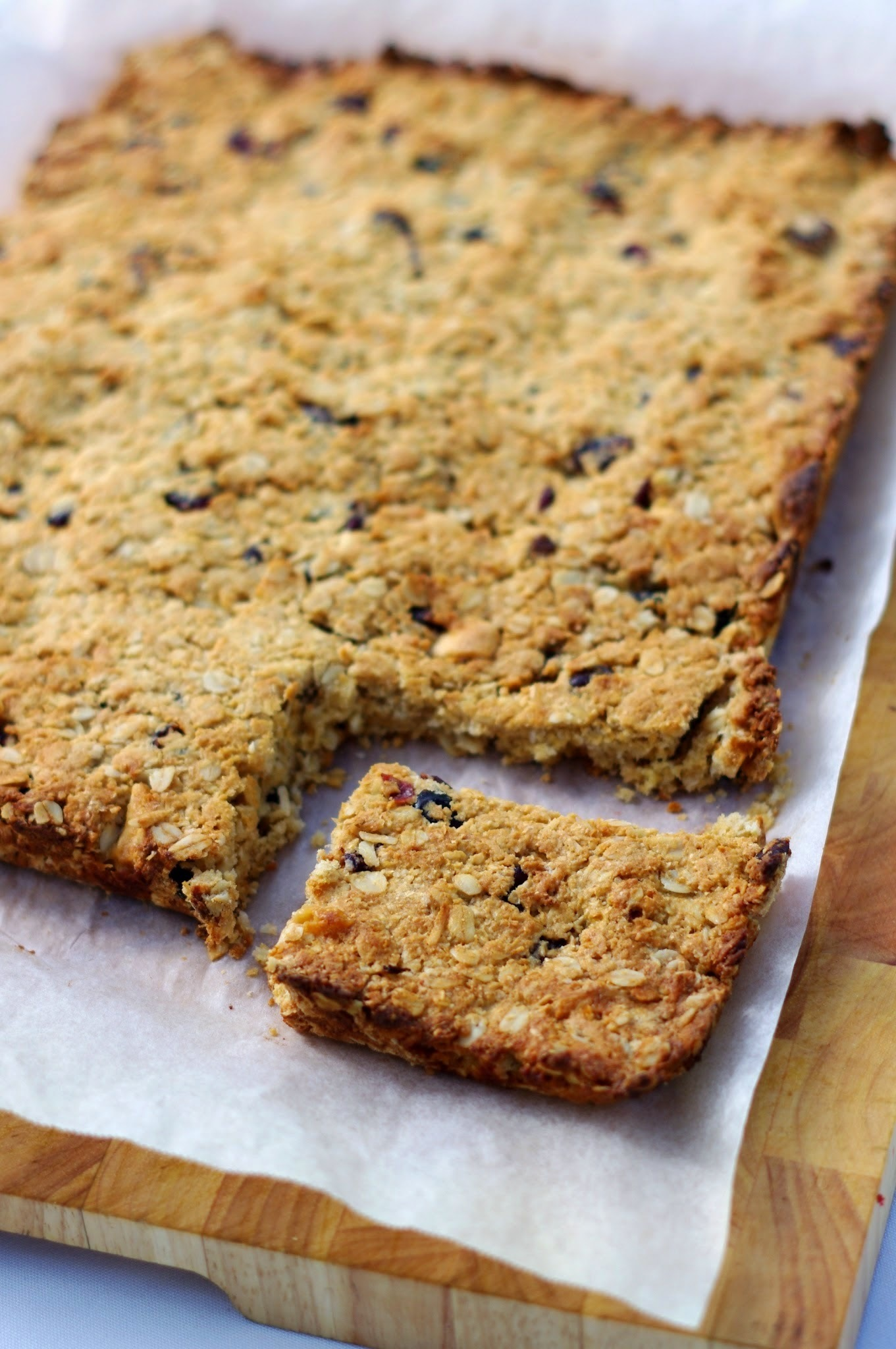 Cranberry and white chocolate oat slice