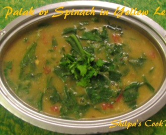 Dal Palak or Spinach with Yellow Lentils