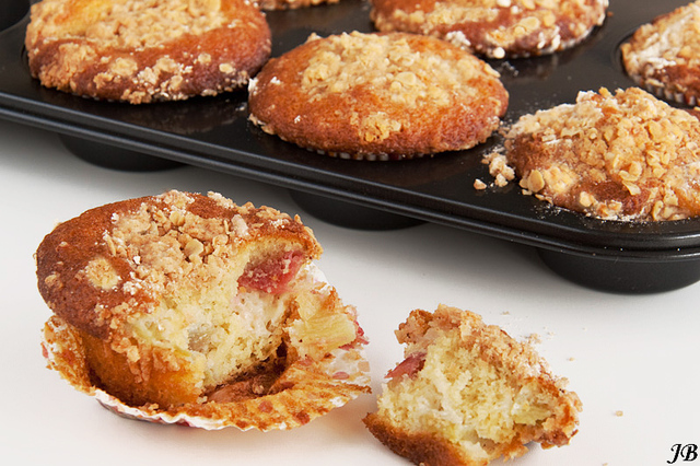 Rabarber crumble muffins
