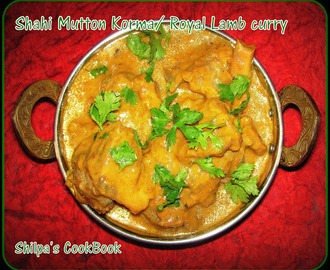 Shahi Mutton Korma or Royal Lamb Curry
