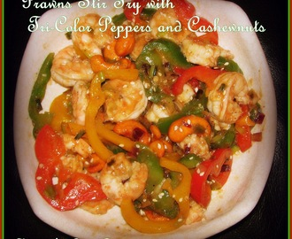 Prawn Stir fry with Tri-Color Peppers & Cashewnuts