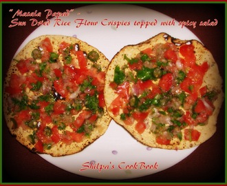 """Masala Papad"" - Sun Dried Rice Flour Crispies topped with spicy salad"