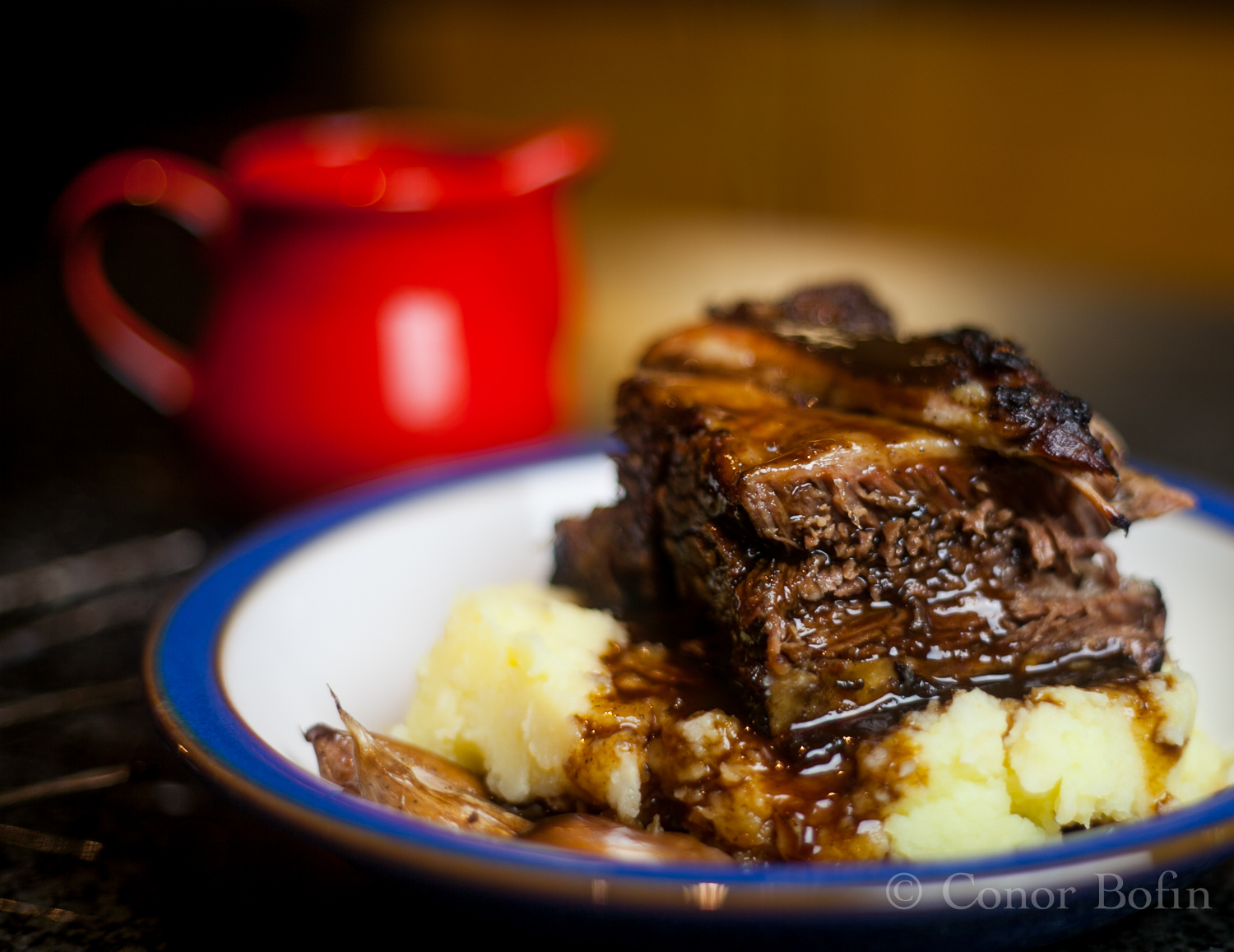 Economic warning  –  DO NOT cook beef short ribs on a bed of garlic served with red wine reduction and celeriac mash.